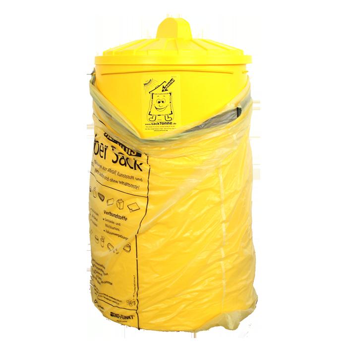bs sacktonne f r gelben sack mit deckel mit gummiband. Black Bedroom Furniture Sets. Home Design Ideas